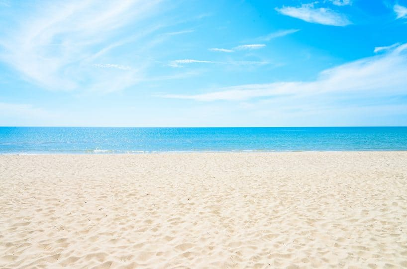 Empty sea and beach background with copy space