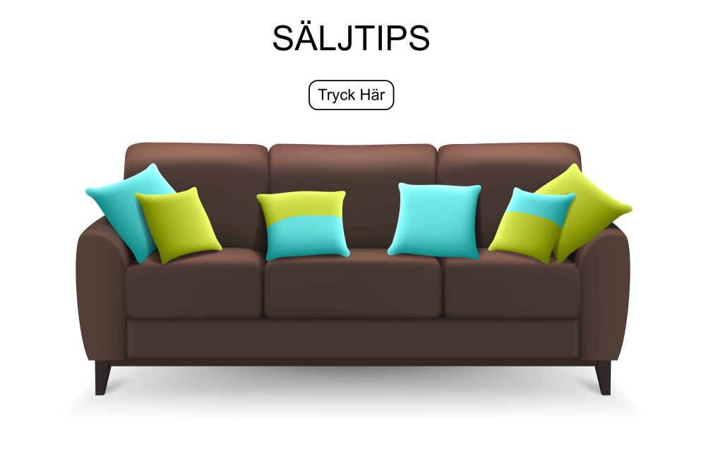 Brown sofa with decorative cushions for lounge sitting or drawing room home design isolated realistic vector illustration