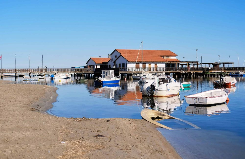 Los Alcazares beach and harbor. Fishing village on the western side of the Mar Menor in the autonomous community and province of Murcia, southeastern Spain.