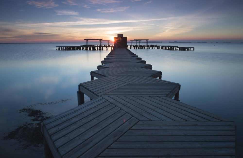 Panorama of Mar Menor lagoon, from Los Alcazares, Murcia, Spain at dawn